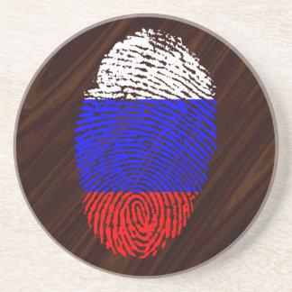 Russische Touchfingerabdruckflagge Getränkeuntersetzer