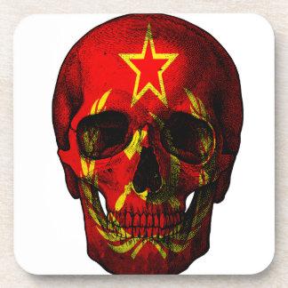 Russischer Flaggenschädel Getränkeuntersetzer