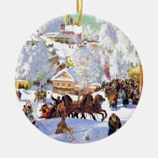 Russisches Dorf im Winter Keramik Ornament