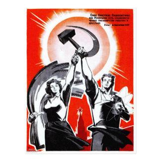 Russisches Vintages Propaganda-Plakat Postkarte