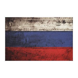 Russland-Flagge auf altem hölzernem Korn Leinwanddruck