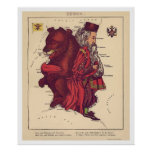 Russland-Karikatur-Karte 1868 Poster