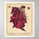 Russland-Karikatur-Karte 1868 Posterdrucke