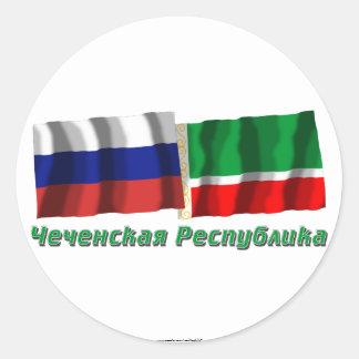 Russland und tschetschenische Republik Runder Sticker