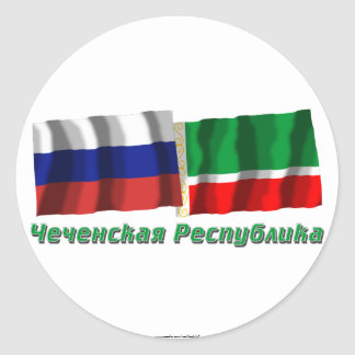 Russland und tschetschenische Republik Runder Aufkleber