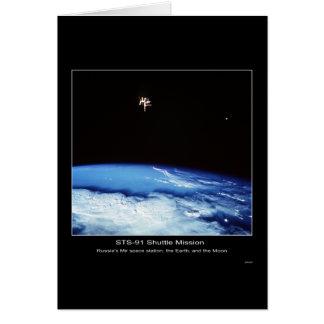 Russlands MIR-Raumstation, die Erde und der Mond Karte