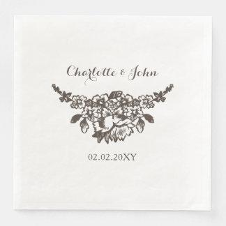 Rustikal blühen Sie Vintage Hochzeit Serviette