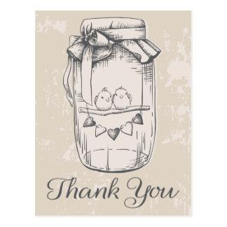 Rustikal danke Weckglaslovebirds-TAN-Hochzeit Postkarte