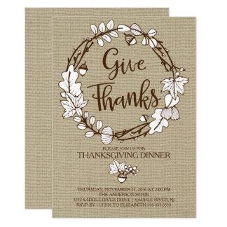 Rustikal geben Sie Dank-Erntedank-Abendessen 12,7 X 17,8 Cm Einladungskarte