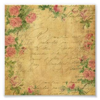 Rustikal, Grunge, Papier, Vintag, mit Blumen, Kunst Fotos