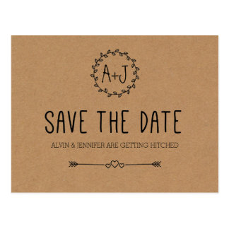 Rustikal Save the Date/Braunes Packpapier Save the Postkarte