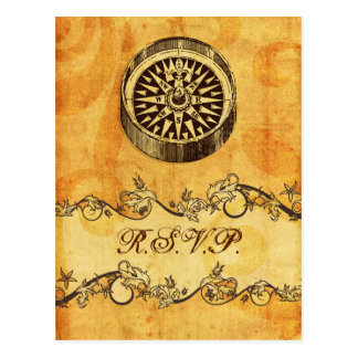 rustikal, Vintag, Kompassseehochzeits-uAwg Postkarte