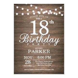 Rustikale 18. Geburtstags-Einladungs-Schnur Karte