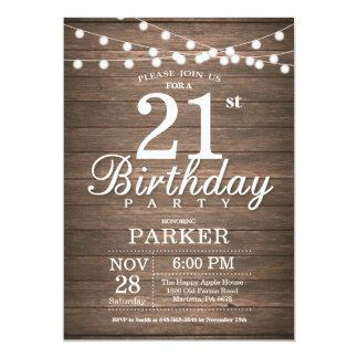 Rustikale 21. Geburtstags-Einladungs-Schnur Karte