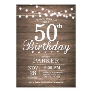 Rustikale 50. Geburtstags-Einladungs-Schnur Karte