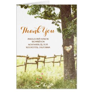 rustikale alte Baumlandhochzeit danken Ihnen Mitteilungskarte