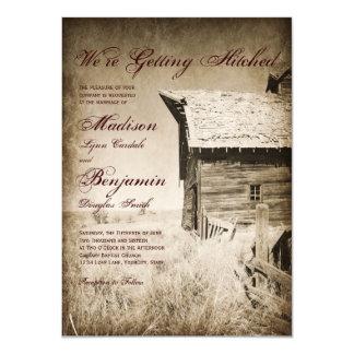 Rustikale alte Scheunen-Land-Hochzeits-Einladungen Karte