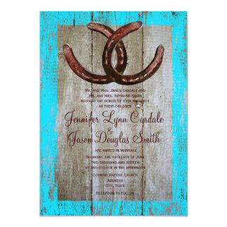 Rustikale aquamarine Scheunen-hölzerne Personalisierte Einladungen