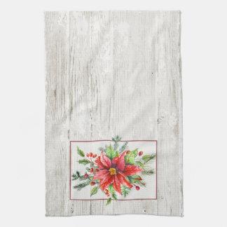 Rustikale Aquarell-Poinsettias auf rehabilitiertem Handtuch