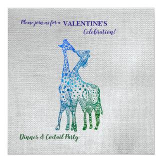 Rustikale Art-Valentinsgruß-Einladung mit Giraffen Karte