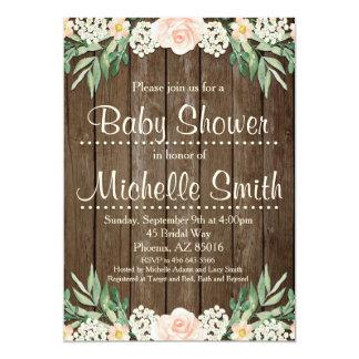 Rustikale Babyparty-Einladung, Spitze, mit Blumen Karte