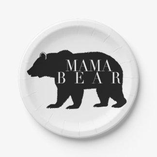 Rustikale Babyparty Mutter-Bear   Pappteller