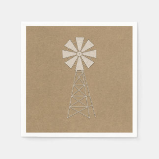 Rustikale Bauernhof-Windmühlen-moderne Hochzeit Papierserviette