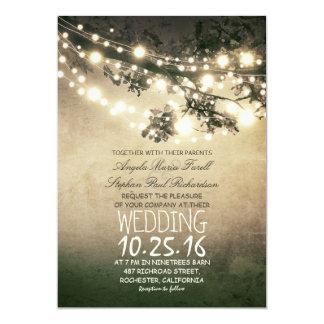 Rustikale Baumast-und Licht-elegante Hochzeit 12,7 X 17,8 Cm Einladungskarte