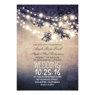 Rustikale Baumaste u wedding Schnurlichter Personalisierte Einladungskarten