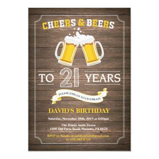 Rustikale Bier-Überraschungs-21. 12,7 X 17,8 Cm Einladungskarte