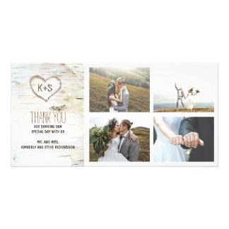 Rustikale Birkenrinde-Herz-Hochzeit danken Ihnen Photo Karten