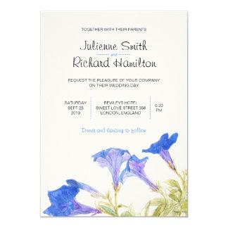 Rustikale blaue Blumenhochzeits-Einladungen Karte
