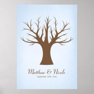 Rustikale blaue Fingerabdruck-Baum-Hochzeit Poster