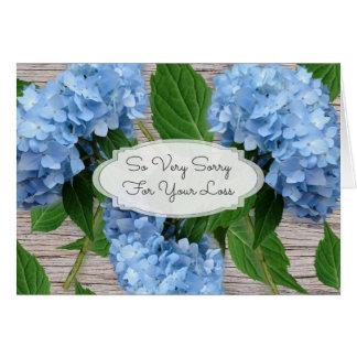 Rustikale blaue Hydrangeas-Beileids-Mitteilung Karte