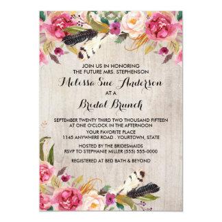 Rustikale Blumen und Feder-Brautparty 12,7 X 17,8 Cm Einladungskarte