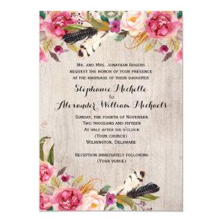 Rustikale Blumen und Federn, die Einladung Wedding