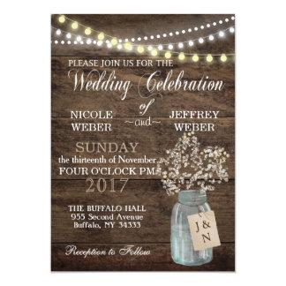 Rustikale BlumenBlumen-Land-Maurer-Glas-Hochzeit 12,7 X 17,8 Cm Einladungskarte
