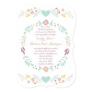 Rustikale Blumengirlanden-Volkskunst Marsala 12,7 X 17,8 Cm Einladungskarte