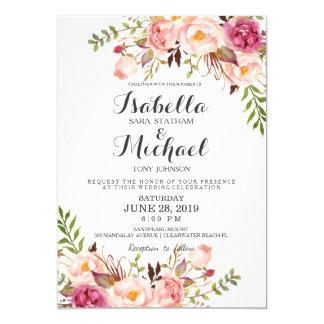 Rustikale Blumenhochzeits-Einladung Karte