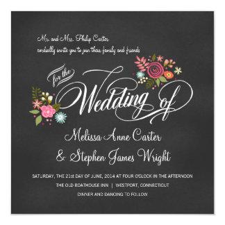 Rustikale Blumentafel-Hochzeits-Einladungen Quadratische 13,3 Cm Einladungskarte