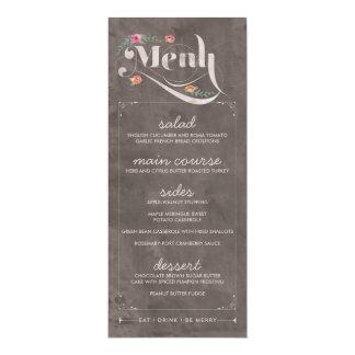 Rustikale Blumentafel-Hochzeits-Menü-Karten Karte