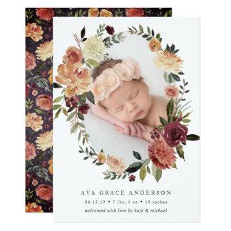 Rustikale Blüten-Geburts-Mitteilung Karte