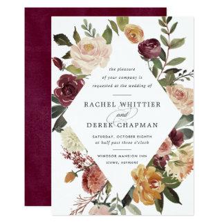 Rustikale Blüten-Hochzeits-Einladung Karte