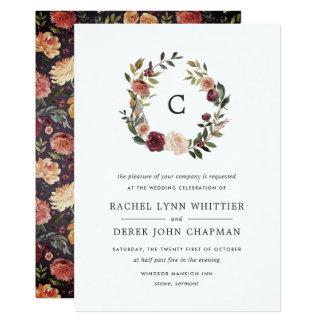 Rustikale Blüten-Monogramm-Hochzeits-Einladung Karte