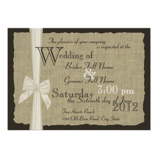 Rustikale Bogen-und Leinwand-Hochzeit Individuelle Ankündigungskarte
