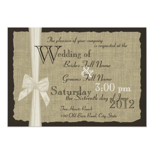 Rustikale Bogen-und Leinwand-Hochzeit 12,7 X 17,8 Cm Einladungskarte