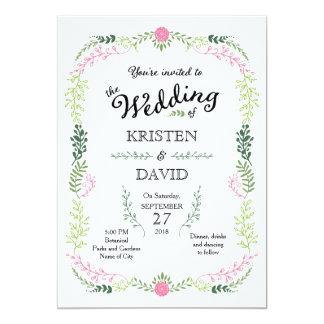 Rustikale böhmische Frühlings-Laub-Kranz-Hochzeit 12,7 X 17,8 Cm Einladungskarte