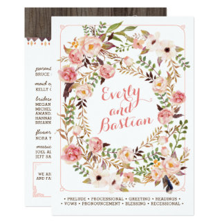 Rustikale Boho BlumenAquarell-Hochzeits-Programme Karte