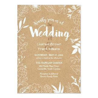 Rustikale botanische Hochzeits-Einladung im Freien 12,7 X 17,8 Cm Einladungskarte