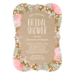 Rustikale Brautparty-Einladung der Blumen-|